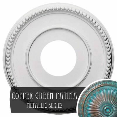 3/4 in. x 12-1/2 in. x 12-1/2 in. Polyurethane Bradford Ceiling Medallion, Copper Green Patina