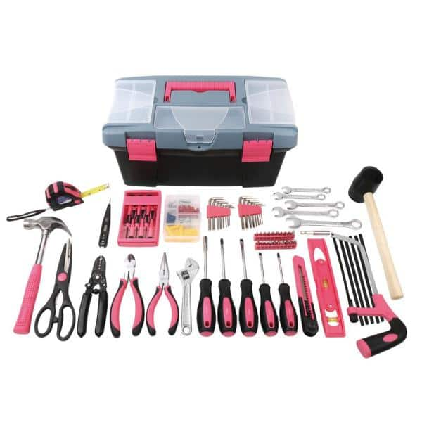 Apollo 16-Piece Home Tool Kit with Tool Box in Pink-DT16P - The
