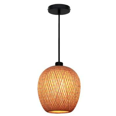 Bernice 10.25 in. 1-Light Black Pendant with Natural Rattan Shade
