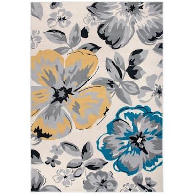 Modern Comtemporary Floral Design Cream 3 ft. 1 in. x 5 ft. Indoor Area Rug
