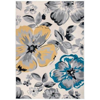 Modern Comtemporary Floral Design Cream 6 ft. 6 in. x 9 ft. Indoor Area Rug