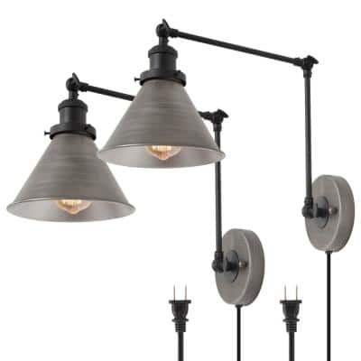 1-Light Industrial Ancient Silver Wall Lamp with Double Section Swing Arm and On/Off Switch
