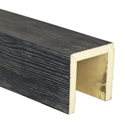 SAMPLE - 6 in. x 6 in. x 12 in. 3 Sided (U-Beam) Sandstone Aged Ash Endurathane Faux Wood Ceiling Beam Premium