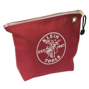 10 in. Consumables Red Canvas Zipper Bag