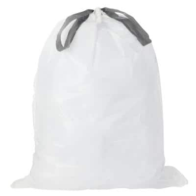 5 Gal. White Drawstring Trash Bags (Case of 100 Bags)
