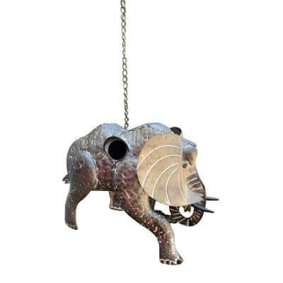 Gray Galvanized Hanging Animal Elephant Birdhouse
