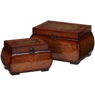 6.5 in. H Burgundy Decorative Lacquered Wood Chests (Set of 2)