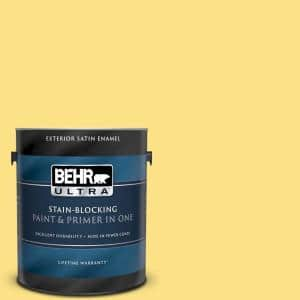 Behr Ultra 1 Gal 380b 4 Daffodil Yellow Satin Enamel Exterior Paint And Primer In One 985401 The Home Depot