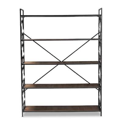 65 in. Natural Oak/Black Metal 5-shelf Standard Bookcase with Open Back