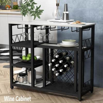 21-Bottle White Metal Console Table Wine Rack