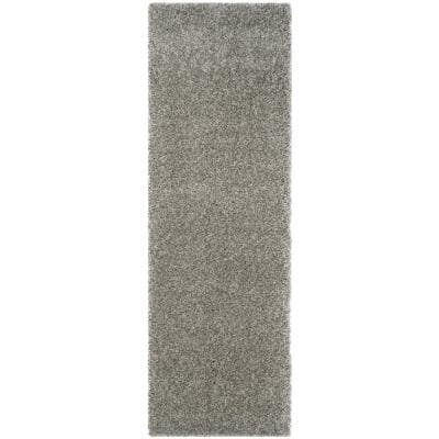 California Shag Silver 2 ft. x 17 ft. Runner Rug