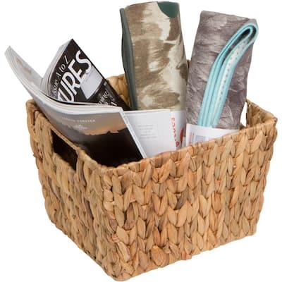 11.5 in. Rectangular Hyacinth Wicker Storage Basket with Handles