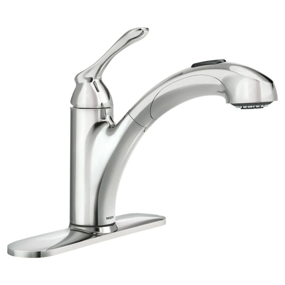 Moen Banbury Single Handle Pull Out Sprayer Kitchen Faucet With Power Clean In Chrome 87017 The Home Depot