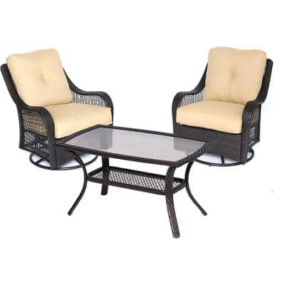 Merritt 3-Piece Metal Outdoor Conversation Chat Set with Tan Cushions
