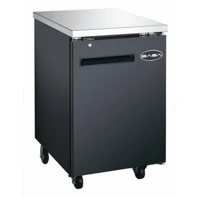 23.5 in. W 6.5 cu. ft. Commercial Solid Door Under Back Bar Cooler Refrigerator in Stainless Steel with Black