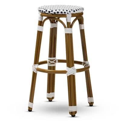 Joelle 28 in. Navy and White Bar Stool