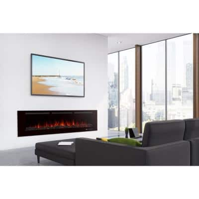 60 in. Recessed In-Wall or Wall Mounted Electric Fireplace Heater Smokeless in Black with Remote Control