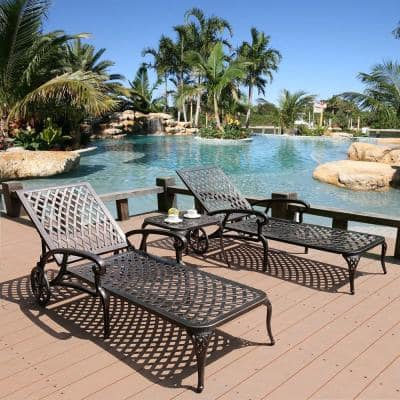 Pelcha Bronze 3-Piece Aluminum Outdoor Chaise Lounge