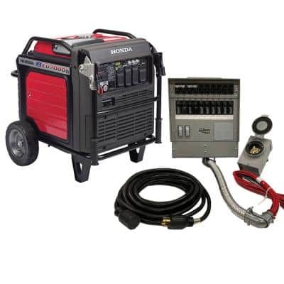 Inverter 7000-Watt Standby Gasoline Generator 120/240V Single Phase with Bluetooth and 10 Circuit Manual Transfer Switch