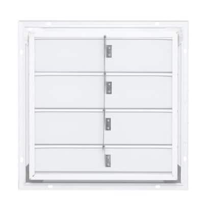19.25 in. x 19.25 in. Square White Aluminum Automatic Shutter Gable Louver Vent