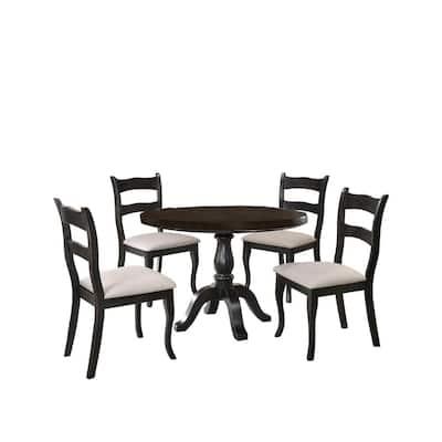 Alice 5 Pcs Dining Set, Black