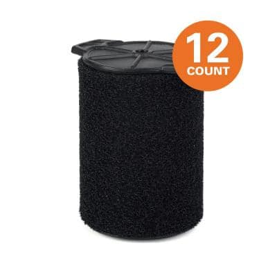 Wet Application Foam Filter for Most 5 Gal. and Larger RIDGID Wet/Dry Shop Vacuums (12-Pack)
