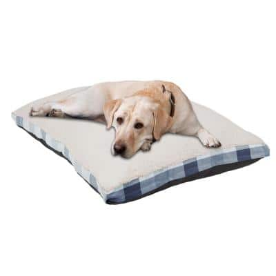 Jacquard Gusset Large 40 in. x 30 in. Blue Dog Bed