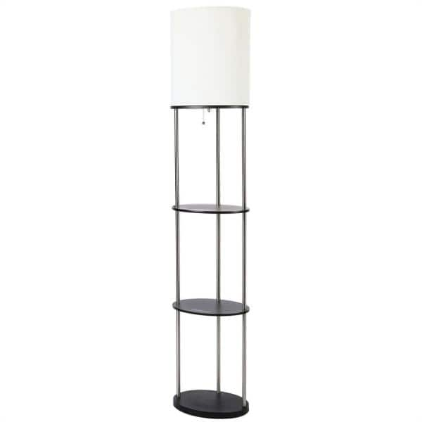 Merra 63 25 In Modern Brushed Nickel Oval Etagere Floor Lamp With White Fabric Shade Ptl 0102 00 Bnhd 1 The Home Depot