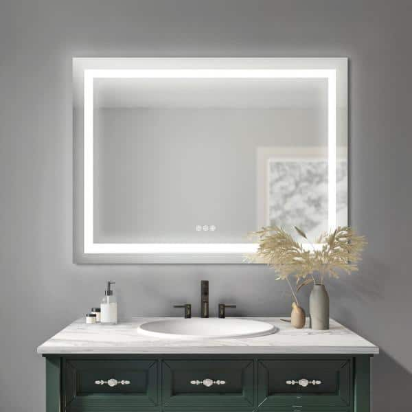 Sunjoy Laken 48 In W X 32 H, Bathroom Mirror With Led Lights And Bluetooth