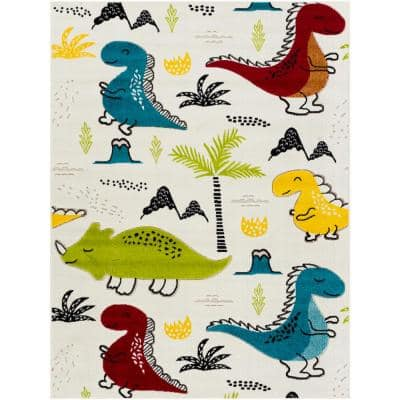 Multi-Colored White/Blue/Green/Yellow/Red 7 ft. 10 in. x 10 ft. Area Rug