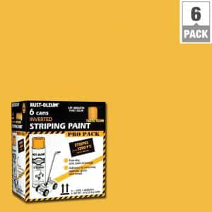 18 oz. Flat Traffic Yellow Inverted Striping Spray Paint (Contractor 6-Pack)