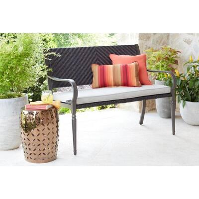 Commack Brown Wicker Outdoor Bench