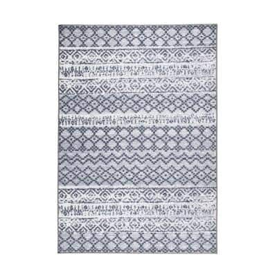 Contemporary Trellis Bohemian Non Slip Gray 5 ft. x 7 ft. Area Rug