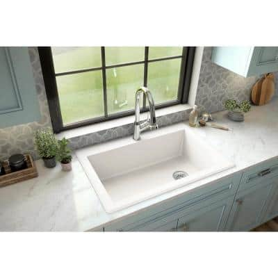 Drop-In Quartz Composite 33 in. 1-Hole Single Bowl Kitchen Sink in White