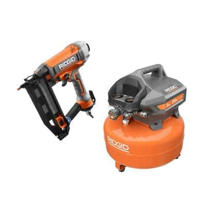6 Gal. Portable Electric Pancake Air Compressor with 16-Gauge 2-1/2 in. Straight Finish Nailer