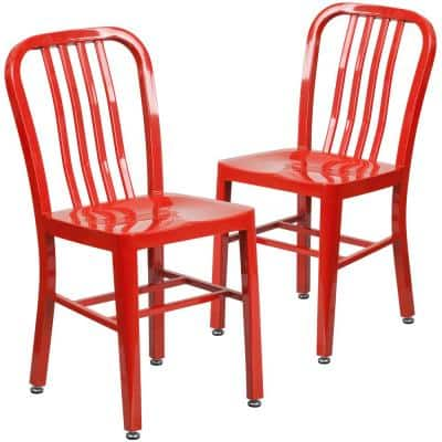 Metal Outdoor Dining Chair in Red (Set of 2)