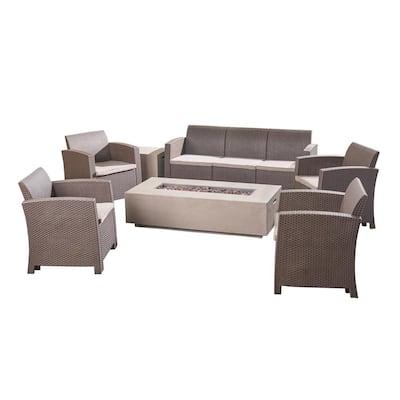Leavitt Brown 7-Piece Wicker Patio Fire Pit Conversation Set with Beige Cushions