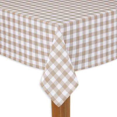 Buffalo Check 60 in. x 84 in. Sand 100% Cotton Table Cloth for Any Table
