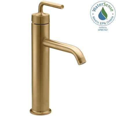 Purist Tall Single-Hole Single-Handle Low-Arc Vessel Bathroom Faucet in Vibrant Modern Brushed Gold