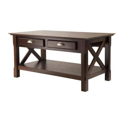 Xola 37 in. Cappuccino Medium Rectangle Wood Coffee Table with Drawers