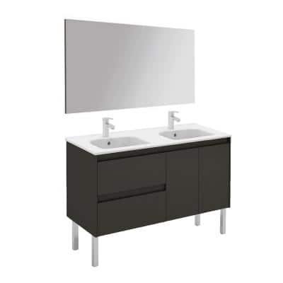 47.5 in. W x 18.1 in. D x 32.9 in. H Complete Bathroom Vanity Unit in Anthracite with Mirror