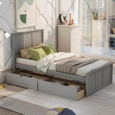 Gray Twin Size Platform Storage Bed with 2-Drawers