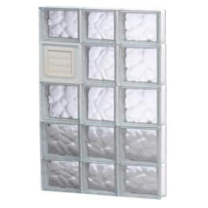 21.25 in. x 34.75 in. x 3.125 in. Frameless Wave Pattern Glass Block Window with Dryer Vent