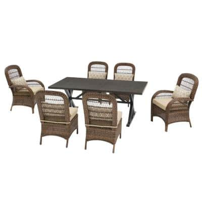 Beacon Park 7-Piece Brown Wicker Outdoor Dining Set with Toffee Cushions