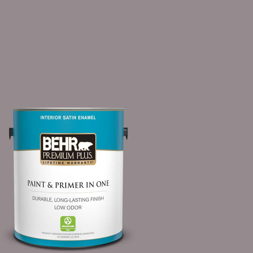 Behr Premium Plus 1 Gal T18 03 Graylac Satin Enamel Low Odor Interior Paint And Primer In One 740001 The Home Depot