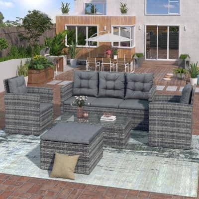 Gray 5-Piece Wicker Outdoor Sectional Set with Gray Cushions