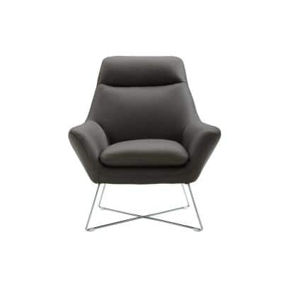 Daniellechair Dark Gray Top Grain Italian Leather Stainless Steel Legs