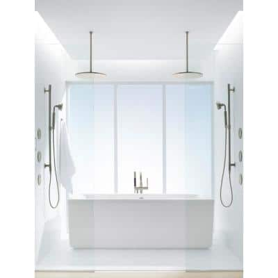 1-Spray 14 in. Single Ceiling Mount Fixed Rain Shower Head in Vibrant Brushed Nickel