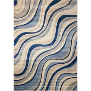 Somerset Ivory/Blue 4 ft. x 6 ft. Floral Contemporary Area Rug
