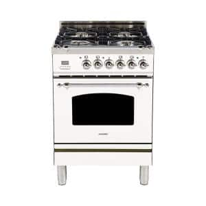 24 in. 2.4 cu. ft. Single Oven Italian Gas Range with True Convection, 4 Burners, LP Gas, Chrome Trim in White